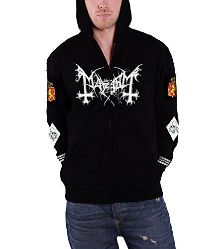 Mayhem Legion Norge Hood Official Mens New Black Zipped Hoodie