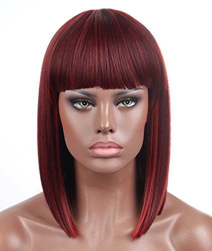 Kalyss Bob Short Hair Wig for Black Women Wine Red Mixed Color Heat Resistant Yaki Synthetic Hair Women's Wig With Hair Bangs (Mix Bordeaux)]()