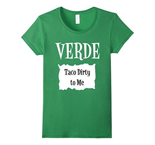 Work Appropriate Group Costume Ideas (Womens Verde Green Sauce Packet Shirt - Halloween Costume T-Shirts Medium Grass)