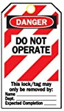 Lockout Tags, 5 3/4 in x 3 in, Cardstock, Danger, Do Not Operate (19 Pack)