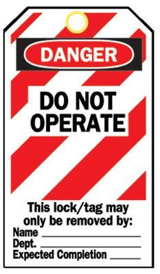 Lockout Tags, 5 3/4 in x 3 in, Cardstock, Danger, Do Not Operate (17 Pack)