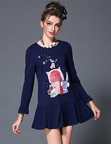 GSP-Damen Kleid - Übergrößen Übergröße / Leger Solide / Patchwork Mini Baumwolle / Nylon / Elasthan Rundhalsausschnitt