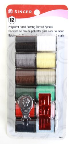 Singer Spun Polyester Light and Dark Hand Thread Set, Set of 12, Assorted Colors (Assorted Thread 12 Spools)