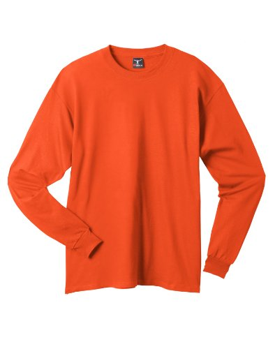 Hanes Adult Beefy-T Long-Sleeve T-Shirt 5186, M, Orange (Classy Outfits For Men)