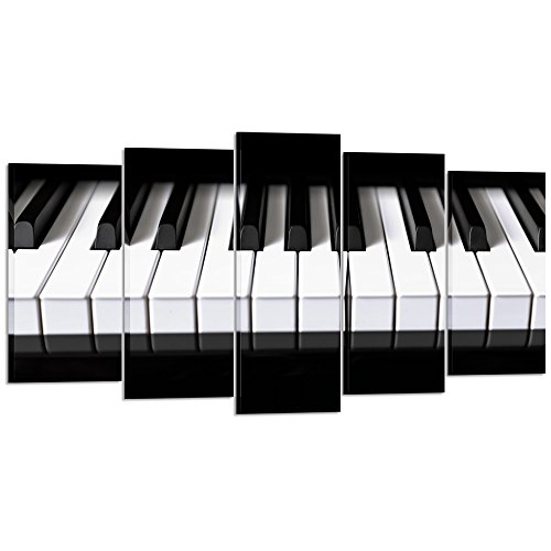 Kreative Arts 5 pieces Black and White Canvas Art Piano Keys HD Printed Music Poster Canvas Painting Home Decor Wall Pictures for Living Room