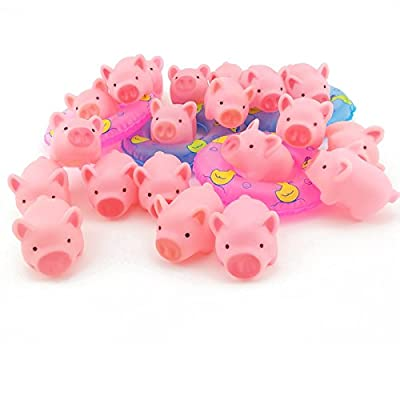 20PCS TKOnline Rubber Pink Pig Baby Bath Toy with 4 Mini Swim Ring