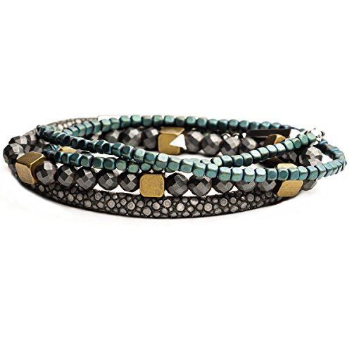 Tribal Hollywood Riptide Bracelet Stack With Blue Hematite Brass And Stingray Leather Hematite Stingray