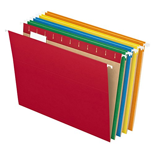 Pendaflex Hanging File Folders, Letter Size, Assorted Colors, 1/5-Cut Adjustable Tabs, 25 Per Box (81663) (14x13 Hanging File Folders)