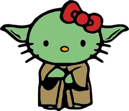 Yoda Hello Kitty Car Window Wall Macbook Notebook Laptop Sticker Decal