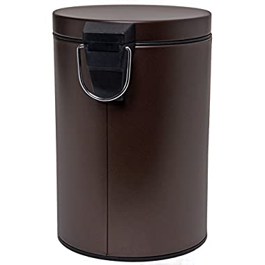 HOMEBASIX LYP0701 Small Step Round Trash Can, 7-Liter, 1.8 Gallon Venetian Bronze