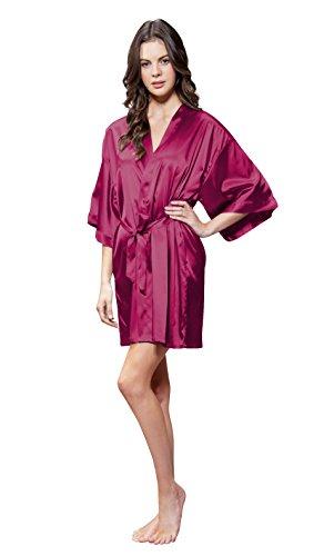 Turquaz Linen Satin Kimono Bridesmaids Robe (Large, Wine Red)