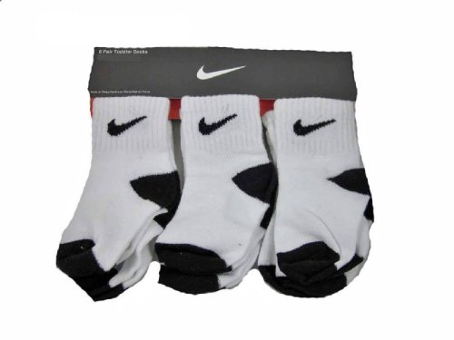 Nike Newborn Baby Socks White/Black 6 Pairs, Size 6-12 Months (Nike Infant Socks)
