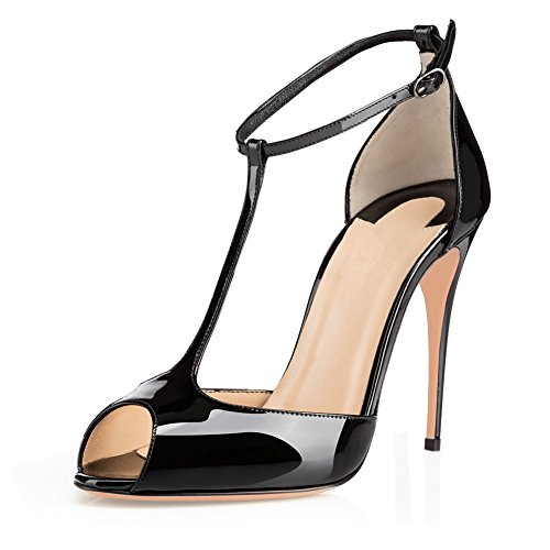 Eldof Womens High Heel Sandals| Peep Toe T-Strap 10cm Pumps | Ankle Buckle Wedding Dress Shoes Black Patent US7 (T-strap Toe Heels Peep)