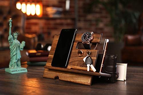 Natural Walnut Wood Phone Docking Station Key Hooks Holder Wallet Stand Watch Organizer Men Gift Husband Anniversary Dad Birthday Nightstand Purse Tablet Boyfriend Father Graduation Male Travel