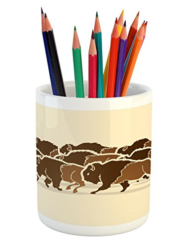 (Lunarable Bison Pencil Pen Holder, Buffalo Teamwork in Anger Going for Hunting Wilderness Mammal Design, Printed Ceramic Pencil Pen Holder for Desk Office Accessory, Pale Caramel Brown Ivory)