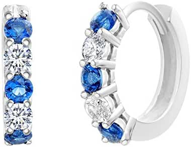 SUPER SALE 18K White Gold Over Sterling Silver Round Blue Clear Cubic Zirconia Huggie Hoop Earrings