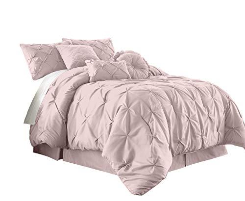 Chezmoi Collection Sydney 7-Piece Pintuck Bedding Comforter Set (Queen, Soft Pink) (Renewed)