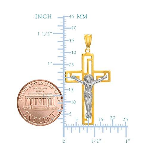 14 k deux tons or Crucifix pendentif Style grec 35 mm ou 1, 2, 5 cm de longueur