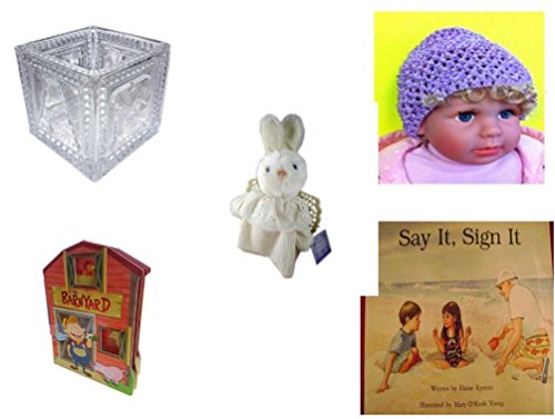 le - Ages 0-2 [5 Piece] Includes: B-A-B-Y Block Container Heavy Glass, Baby Crochet Beanie Lavender, Hallmark Cheribina Sweet Angel Bunny, At The Barnyard Board Book, Say It, Sig (Hallmark Beanie)