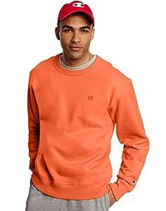 Champion Men's Powerblend Pullover Sweatshirt, Orange, Medium