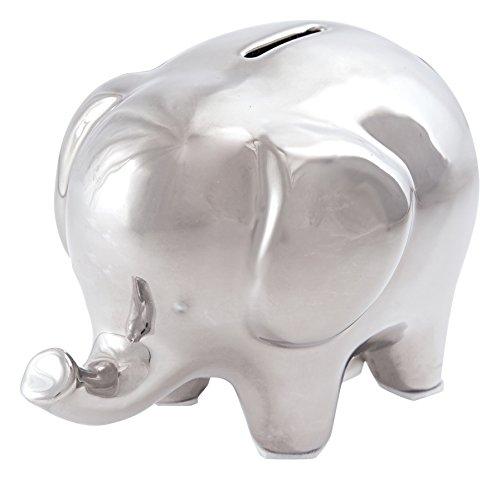 Mud Pie Nursery Décor, Silver Finish Ceramic Elephant Bank (Mud Pie Girls Banks compare prices)