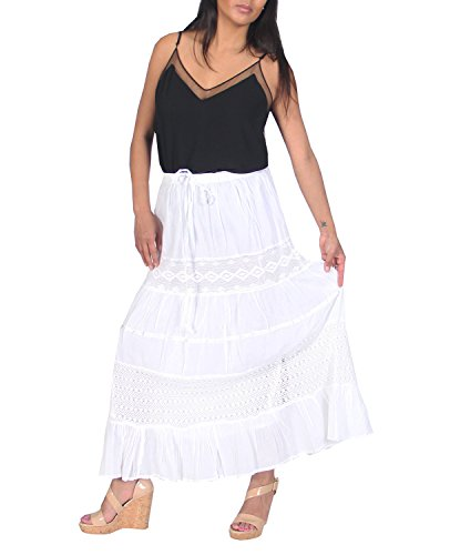 KayJayStyles Full Length Womens Solid Embroidered Gypsy Bohemian Long Cotton Skirt (White) One Size ()