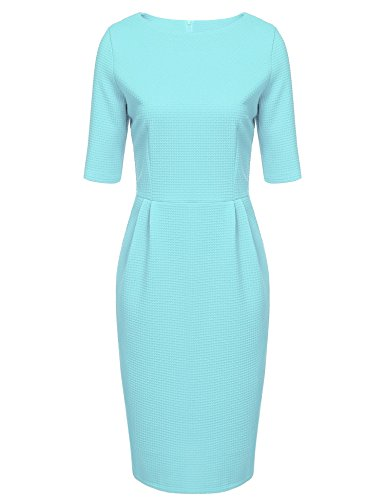 ANGVNS Women 1950s Vintage Half Sleeve Fitted Cocktail Pencil Dress, Teal, -