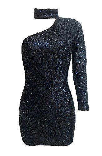 Les Femmes Blansdi Sequin Choker Une Épaule Manches Longues Moulante Mini Robe De Soirée Club Bleu