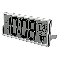 DreamSky Extra Large Digital Wall Clock, Auto time Self Setting Alarm Clock Auto DST time Changing, Jumbo Number Clock Date Temperature Display, Battery Operated.