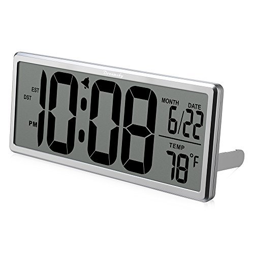 DreamSky Extra Large Digital Clock, Auto time Self Setting Alarm Clock with Auto DST time changing, Jumbo Number Clock with Date and Temperature Display, Battery Operated.