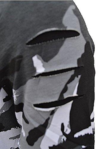Brandneu !!! Designer Langarm-T-Shirt mit Kapuze von CARISMA in Schwarz Camouflage CRM3319