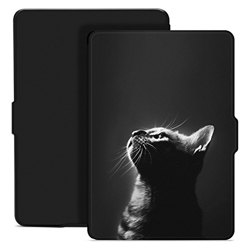 Ayotu Colorful Case for Kindle Paperwhite Thinnest and Lightest PU Leather Smart Cover, Auto Wake/Sleep,Fits All 2012, 2013, 2015 and 2016 Versions All-New Kindle Paperwhite 300 PPI, K5-09 The Cat (Colorful Smart Cover)