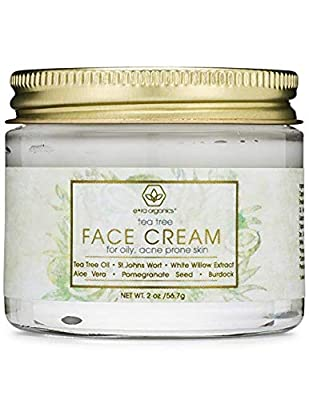 Tea Tree Oil Face Cream - For Oily, Acne Prone Skin Care Natural & Organic Facial Moisturizer with 7X Ingredients by Era Organics