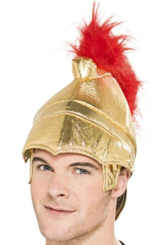 Smiffy's Men's Roman Soldier Helmet, Fabric, Gold, One Size, (Roman Soldier Hat)