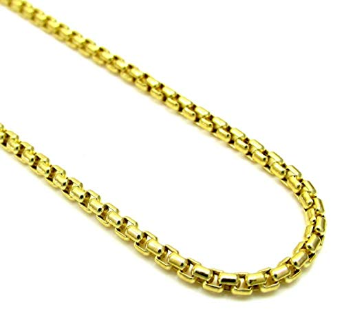Gold 10k Box Necklace Venetian (Pori Jewelers 10K Yellow Gold 3.5mm Thick Round Box Chain Necklace - Multiple Lengths Available- 10 Karat Gold (20))