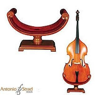 Ornate Carved Wooden Bass Stand by Strad