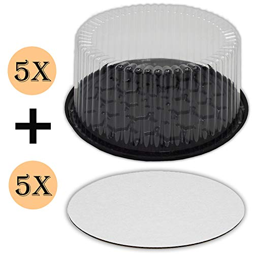 Plastic Cake Container with Clear Dome Lid 9 Inch and Cake Boards 10 inch, Cake Holder with Lid is for 2-3 layer cakes, Cake Board is Round, Cake Supplies, 5 Pack of each. -