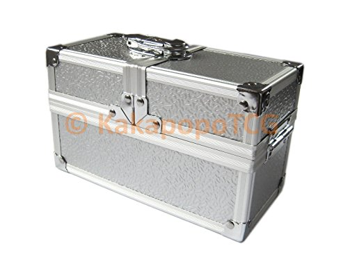 KM-L02 Crypt Lockable Silver Metal Double Deck Box for Deck Protector Top Loader Storage Trading Cards TCG Sleeve MTG Magic the Gathering Pokemon YGO Yugioh EDH Dice Star Wars War Hammer