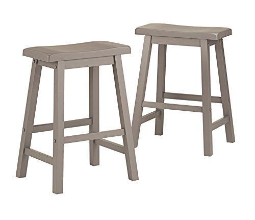 Style Saddle Bar Stool (ModHaus Living Set of 2 Gray Country Style Saddle Back Solid Wood Bar Stool - Counter Height Includes (TM) Pen)
