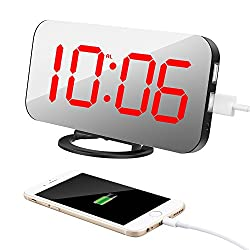 TISSA Alarm Clock with Dual USB Port and Charger, 6.5 Large Number Digital Alarm Clock Mirror Led Table Clock with Adjustable Brightness, Big SNOOZE Button for Bedroom Living Room Decor
