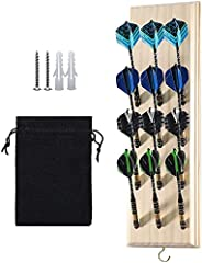 Darts Caddy Wall Mounted Darts Holder/Stand/with Metal Hook, Accessory Storage Bag, Displays 12 Set of Steel/S