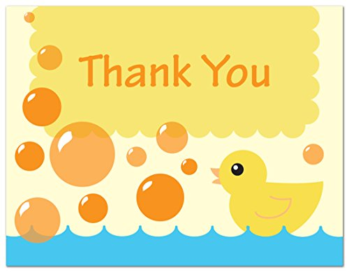 50 Cnt Yellow Duck Bubbles Bath Baby Shower Thank You Cards