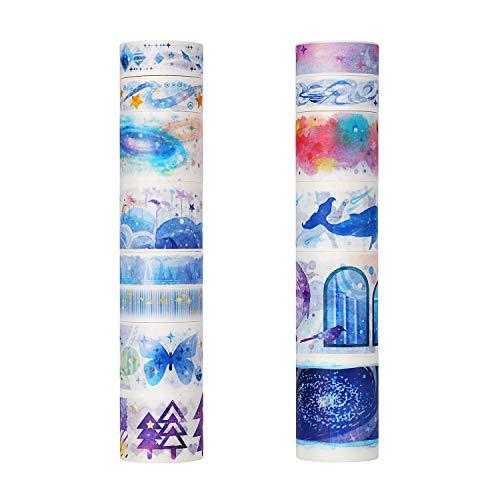 Molshine Set of 14 Japanese Washi Masking Tape, Metal Storage Box Set Washi Tape, Sticky Paper Tape for DIY, Decorative Craft, Gift Wrapping, Scrapbook- The Broad Starlit Sky Series