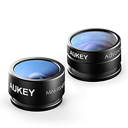 AUKEY Optic iPhone Lens, 160° Fisheye Lens + 20x Macro Mini Clip-on Cell Phone Camera Lenses Kit for Samsung, Android Smartphones, iPhone