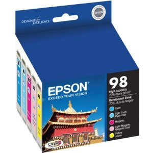 Epson 98 T098920 Color Ink Cartridges, Claria High-Yield Ink