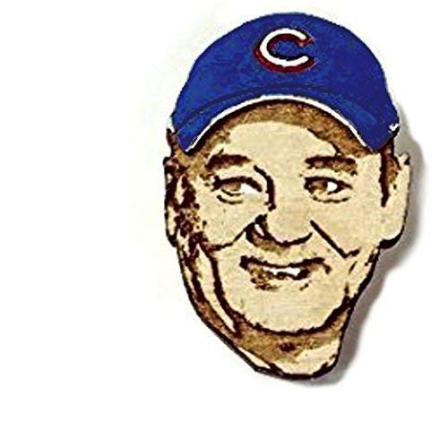 Bill Cubs Fan Lapel Pin | World Series Commemorative Wood Hat Pin | Hand-Painted Wooden Cubs Brooch