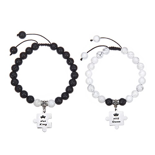 Meibai His and Hers Natural Stone Beaded Couples Bracelet with Stainless Steel Puzzle Charm for Lover (Her King(Lava Rock)&His Queen(Howlite)) (His And Hers Household)