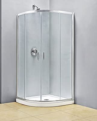 DreamLine Prime 33 in. D x 33 in. W Kit, with Corner Sliding Shower Enclosure in Chrome and White Acrylic Base from DreamLine