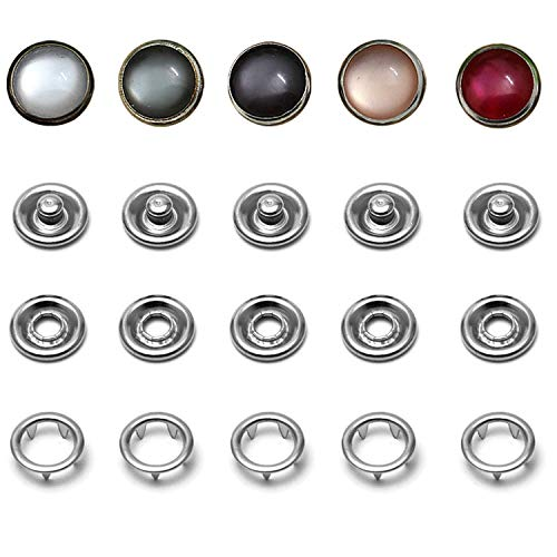 Snap Fastener Kit, 50 Sets Classic Pearl Prong Ring Snaps for Western Shirt Clothes Popper Studs with Clear Storage Box (5 Color x 10 Sets)