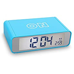 Flip Alarm Clock,Vekey Digtal Backlight Wake Up Clock Flip On/Off Nightstand Portable Travel Clocks with Illuminated Soft Sensor Nightlight for Shelf Desk or Bedrooms